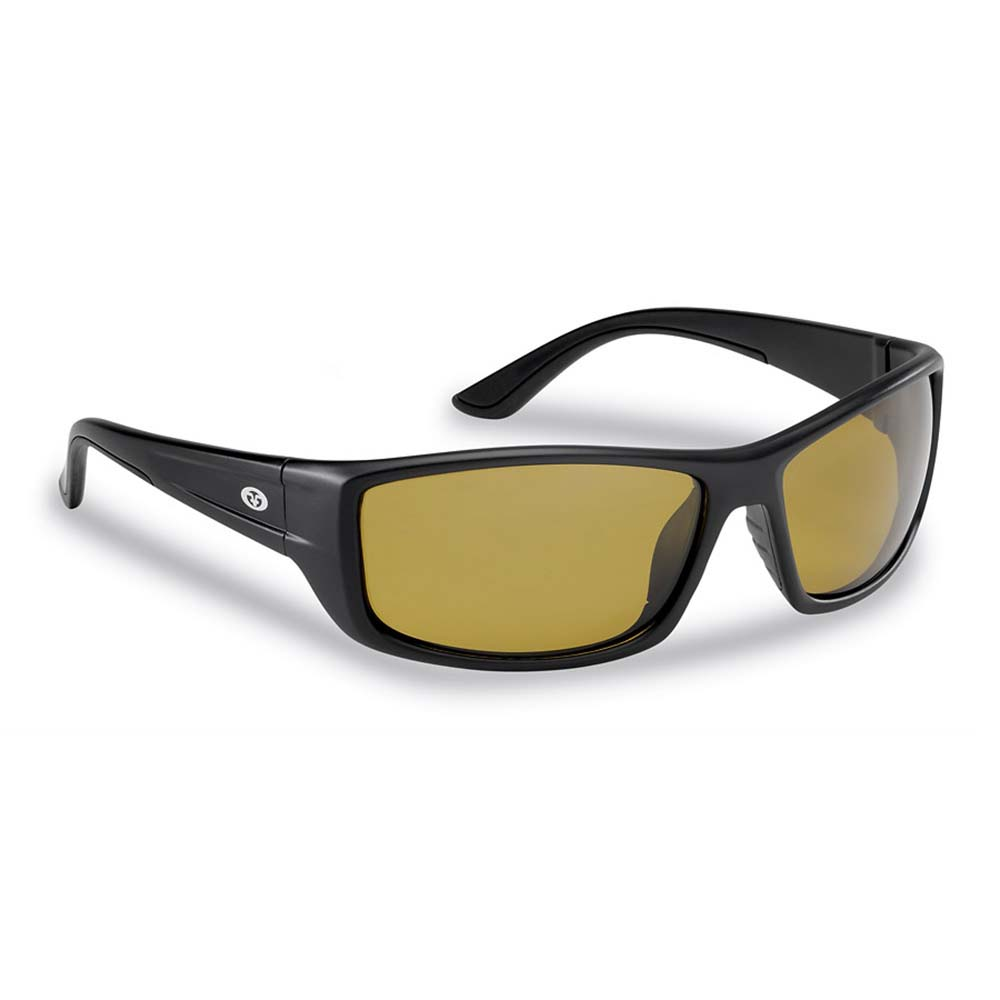 Flying Fisherman 7719BY Buchanan Polarized Sunglasses, Matte Black Frames With Yellow-Amber Lenses