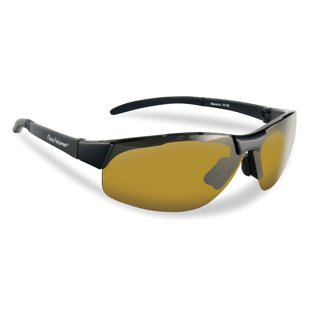 Flying Fisherman 7812BY Maverick Polarized Sunglasses, Black Frames With Yellow-Amber Lenses