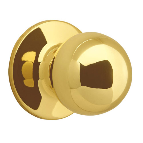 Design House Ball  Dummy Door Knob, Reversible for Left or Right Handed Doors, Polished Brass Finish - 783191