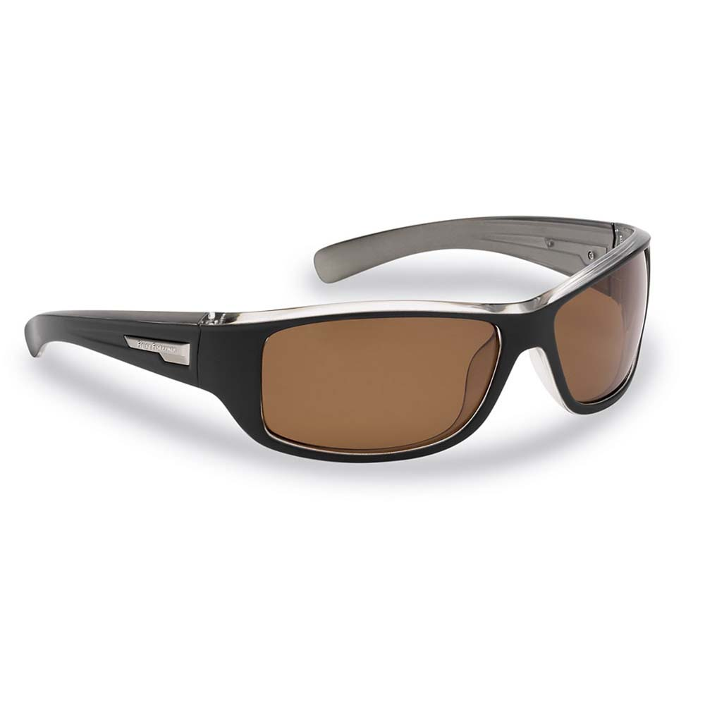 Flying Fisherman 7831BA Helm Polarized Sunglasses, Black-Crystal Gunmetal Frames, Amber Lenses