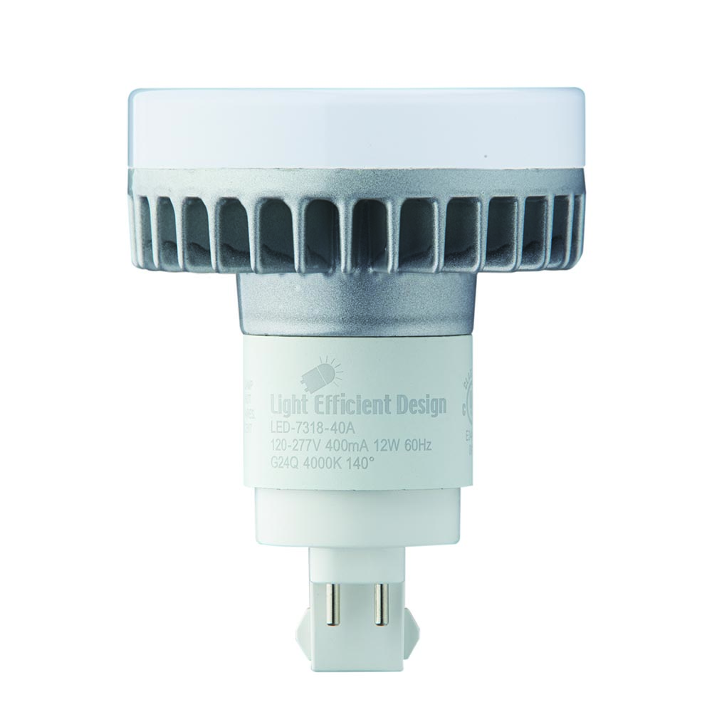 Light Efficient Design 12W G24Q Four Pin-Base CFL Retrofit, 2700K (LED-7318-27A)