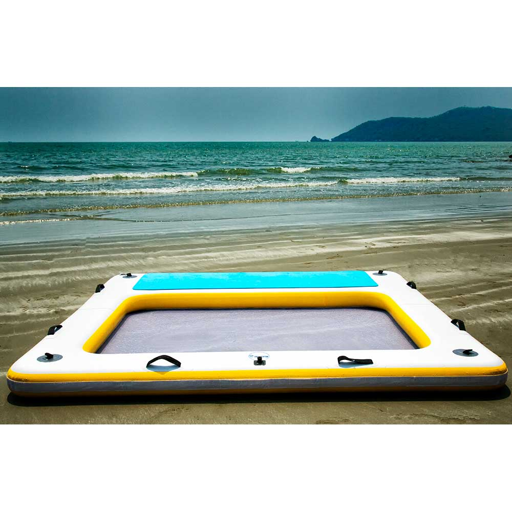 Blue Water Toys Inflatable 4 Person Floating Deck Wet Lounge, 7.5ft x 7.5ft x 6in - BW-L7676S