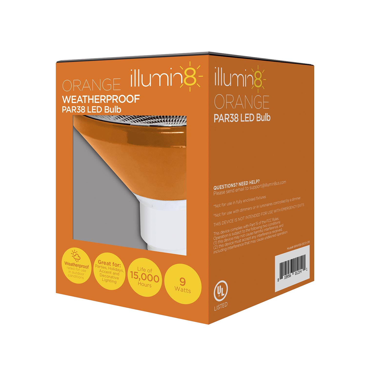 Illumin8 ipar38 deco or par38 orange led light bulb non dimmable 9 illumin8 par38 orange led indooroutdoor flood light non dimmable 3100cd 9 watts i8par38 deco or audiocablefo