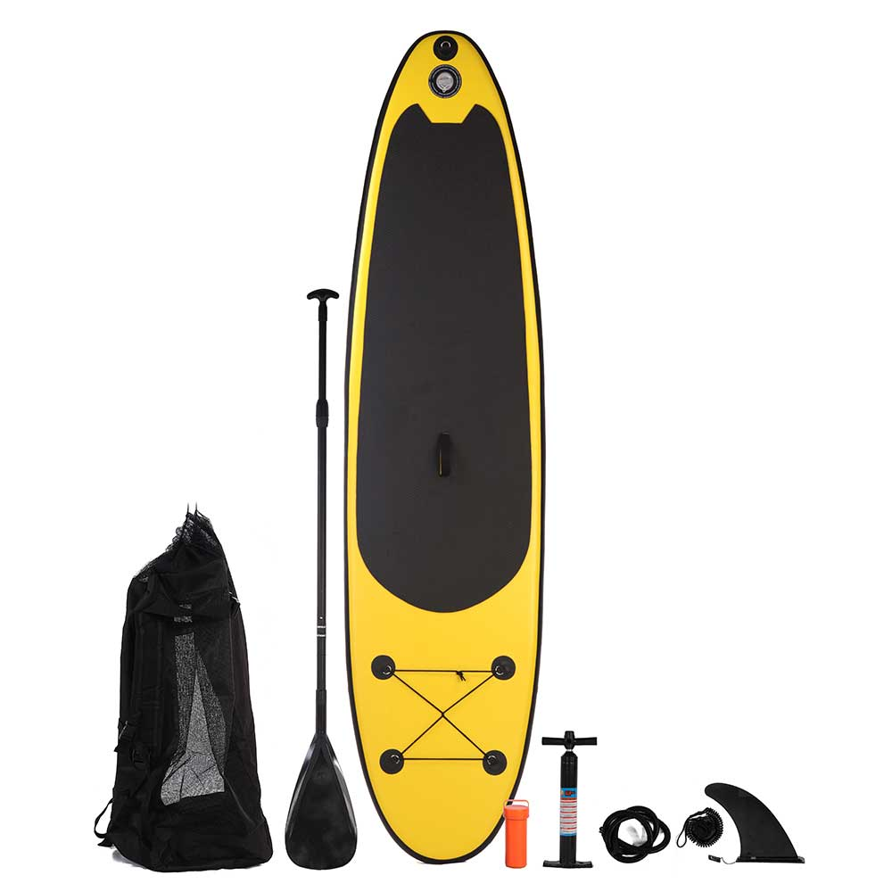 Blue Water Toys Inflatable Stand Up Paddle Board (SUP) Black/Yellow, 10ft x 30in x 4in - PV-10304-SUP