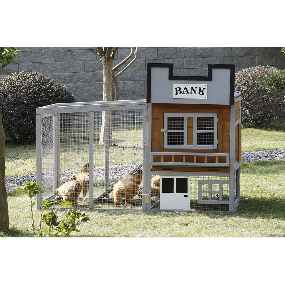 Patio Wise Wild West Bank Theme Modular Chicken Coop Set, Includes Roost & Mesh-Enclosed Outdoor Run - PWCT-001