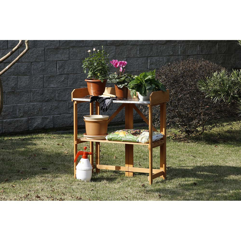 Patio Wise Folding Potting & Gardening Table with Galvanized Steel Top, Fir Wood - PWSPT-007