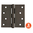Design House 3-Pack of Door Hinges 4-In, Bronze, 6-Hole Square, Bronze - 181677