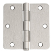 Design House 6-Hole 1/4inch Radius Door Hinge, 3.5inch by 3.5inch, Satin Nickel Finish  - 202457