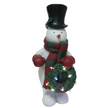 Design House 24 in. LED Snowman Holding Wreath Light-Up Lawn Decoration