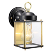 Design House Coach Outdoor Downlight, 4.5inch by 8inch, Black and Polished Brass Finish - 502658
