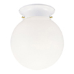 Design House 510032 1-Light Glass Globe Ceiling Mount, White Finish