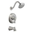 Design House 523456 Oakmont Tub and Shower Faucet, Satin Nickel Finish