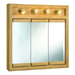 Design House 530600 Richland Oak 4-Light Tri-View Wall Cabinet, 30in x 30in