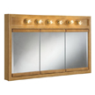 Design House 530626 Richland Oak 6-Light Tri-View Wall Cabinet, 48in x 30in