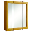 Design House Claremont Honey Oak Tri-View Medicine Cabinet Mirror with 3-Doors, 24in x 24in - 545277