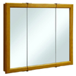 Design House Claremont Honey Oak Tri-View Medicine Cabinet Mirror with 3-Doors, 36in x 30in - 545285