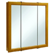 Design House Claremont Honey Oak Tri-View Medicine Cabinet Mirror with 3-Doors, 30in x 30in - 545301