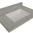 Design House Wave Bowl Premium Granite Vanity Top, 25-inches by 22-inches, Moonscape Grey - 557546