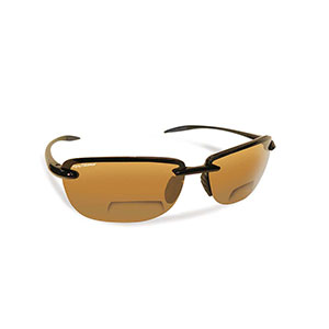 Flying Fisherman 7305BA-200 Cali Polarized Sunglasses, Black Frames With Amber Reader +2.00 Lenses