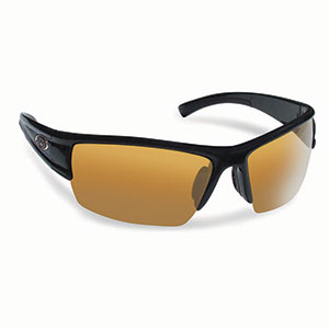 Flying Fisherman 7378BA Edge Polarized Sunglasses, Matte Black Frame, Amber