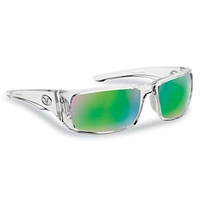 Flying Fisherman 7382CAG Morocco Polarized Sunglasses, Crystal Frames With Amber-Green Mirror Lenses
