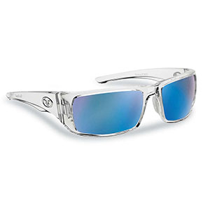 Flying Fisherman 7382CSB Morocco Polarized Sunglassses, Crystal Frames With Smoke-Blue Mirror Lenses