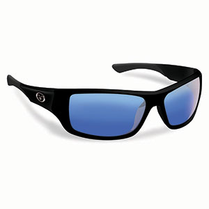 Flying Fisherman 7391BSB Triton Polarized Sunglasses, Matte Black Frames, Smoke- Blue Mirror Lenses