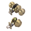 Design House Pro Cambridge Entry Knob and Deadbolt Combo 6-Way Universal Lockset, Antique Brass - 755256