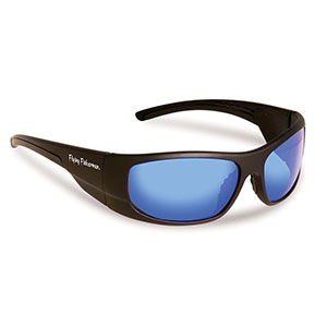 Flying Fisherman 7738BS Cape Horn Polarized Sunglasses, Black Frames With Smoke-Blue Mirror Lenses