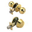 Design House 782615 Pro Ball Entry Knob and Deadbolt Combo, Polished Brass