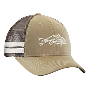 Flying Fisherman H1731 red Fish Trucker Hat Khaki/Chocalate