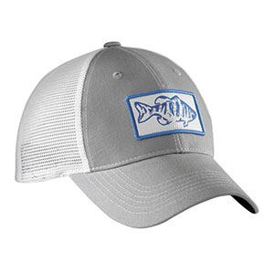 Flying Fisherman H1746 Bass Trucker Hat Gray/White