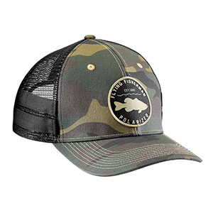 Flying Fisherman H1787 Bass Patch Trucker Hat, Camo
