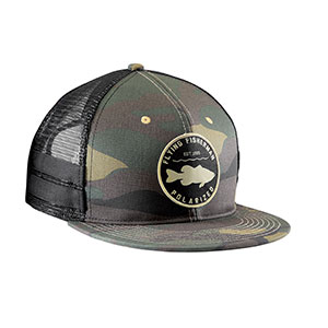 Flying Fisherman H1789 Bass Patch Flatbill Hat, Camo