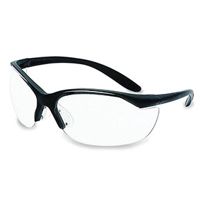 Honeywell Vapor II Shooter's Safety Eyewear, Black frame, Clear Lens, Anti-Fog Lens Coating - R-01535