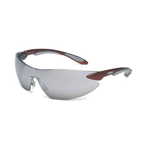 Honeywell Uvex Ignite Safety Eyewear, Frameless Design, Red and Silver Metallic Temples, Silver Mirror Lens, Anti-Fog Lens Coating - RWS-51039
