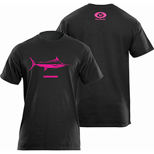 Flying Fisherman T1716BL Marlin Tee, Black Short Sleeve T-Shirt - L