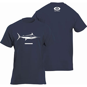Flying Fisherman T1716NL Marlin Tee, Navy Short Sleeve T-Shirt - L