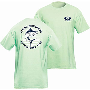 Flying Fisherman T1717ML Marlin Sunset Tee, Mint Short Sleeve T-Shirt - L