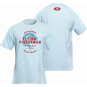Flying Fisherman T1718BL American Original Tee, Blue Short Sleeve T-Shirt - L