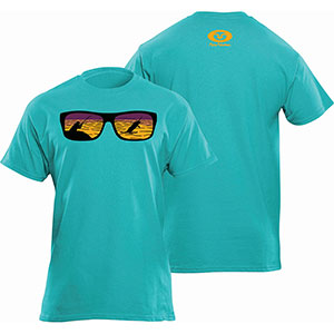 Flying Fisherman T1720TL Shades Tee, Tahiti Blue Short Sleeve T-Shirt - L