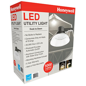 Honeywell LED Barn Light With Plastic Shade, 5000 Lumen in Slate Grey, MA095052-40