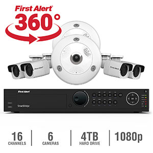 First Alert 16 Channel HD 4TB NVR Surveillance System with 2-3MB 360 Cameras and 4-1080p Bullet Cameras, Smartbridge NC1642F4-360