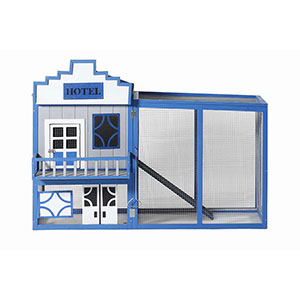Patio Wise Wild West Hotel Theme Modular Chicken Coop Set, Includes Roost & Mesh-Enclosed Outdoor Run - PWCT-002HS