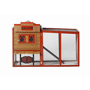 Patio Wise Wild West Saloon Theme Modular Chicken Coop Set, Includes Roost & Mesh-Enclosed Outdoor Run - PWCT-003SS