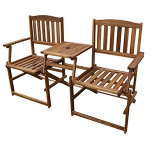 Patio Wise Portable Folding Chair Set, Two Chairs with Built in Table, Acacia Wood - PWFN-018