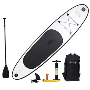 White Lightning 10' Stand Up Inflatable Paddleboard Set by Blue Water Toys | 6-Piece Accessory Kit Included - WL-SUP10284