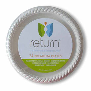 Yumi Return 7 Inch Compostable Plates, 100% Natural Starch, 24 Pieces