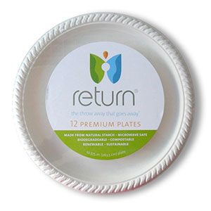 Yumi Return 10-3/8 Inch Compostable Plates, 100% Natural Starch, 12 Pieces