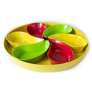 Yumi Nature+ Natural Bamboo Serving Tray with 6 Teardrop Dishes